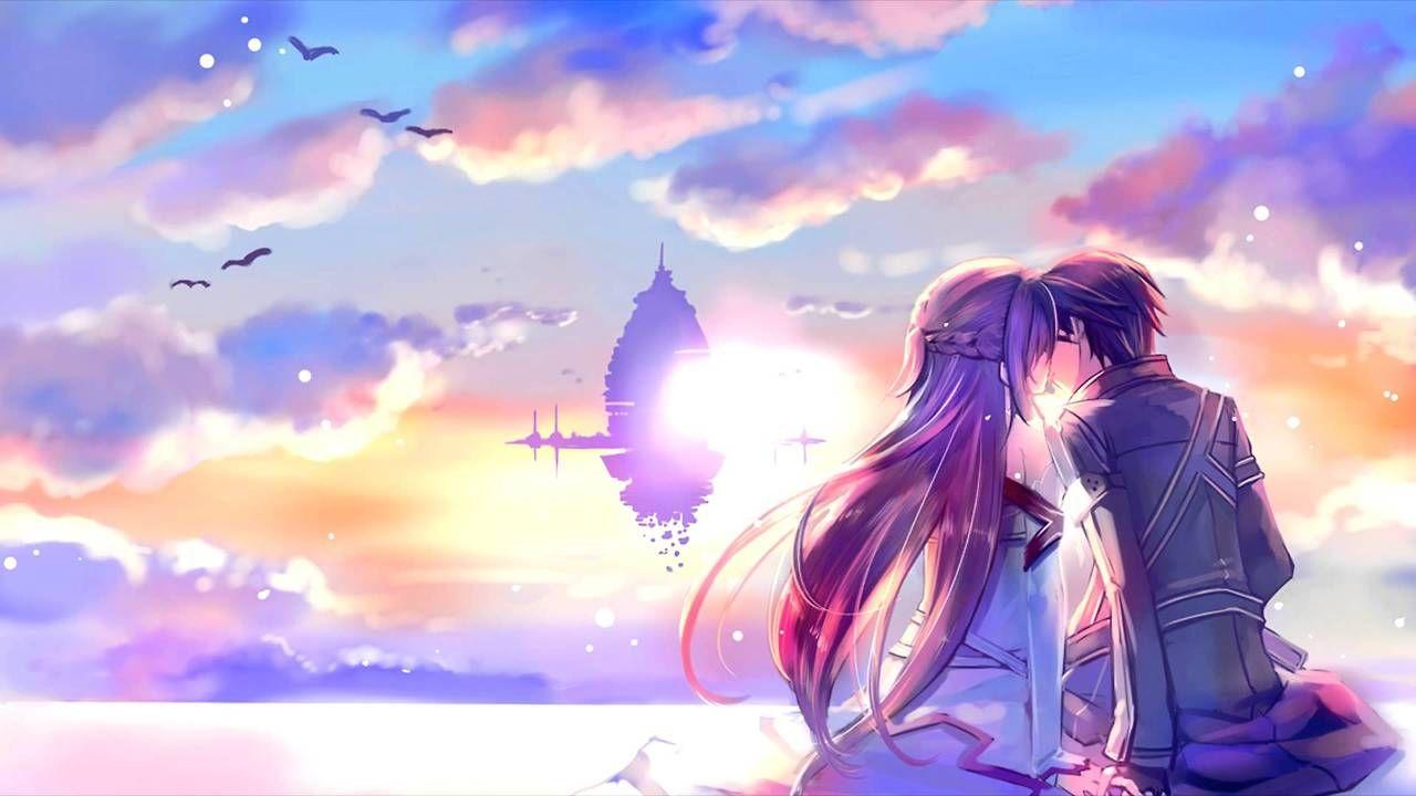 Kirito and Asuna kissing at the end of Aincrad