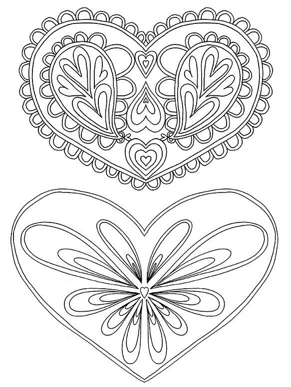 Heart Printable Coloring Pages for Adults Heart Pattern PDF ...