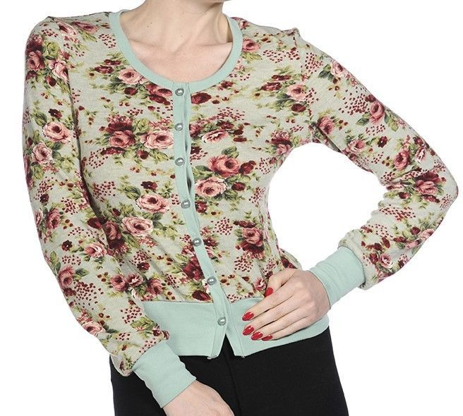 Womens Floral Cardigan by Banned Vintage Rockabilly 50s Top Blouse 8 10 12 Green
