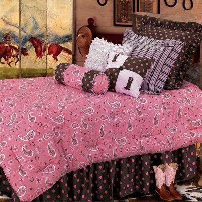 The perfectly feminine #rustic ensemble features swirling bandana paisley, polka dots and contrasting stripes #bedding #beddingsets #westernbedding    http://www.santaferanch.com/