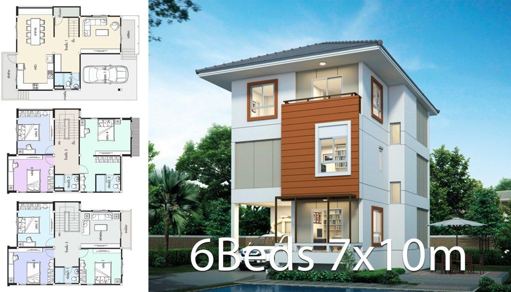 House Design Plan 7x10m With 6 Bedrooms Home Design With Plan Duplex House Design Home Design Plans Modern House Design
