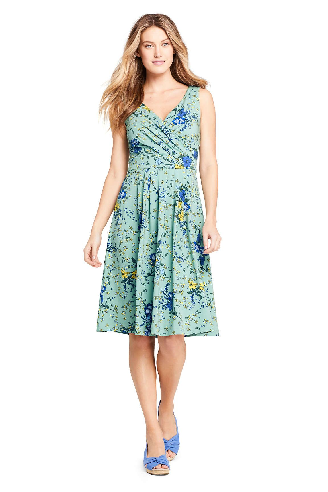 3a996422c Women's Banded Waist Fit and Flare Dress Knee Length from Lands' End ...