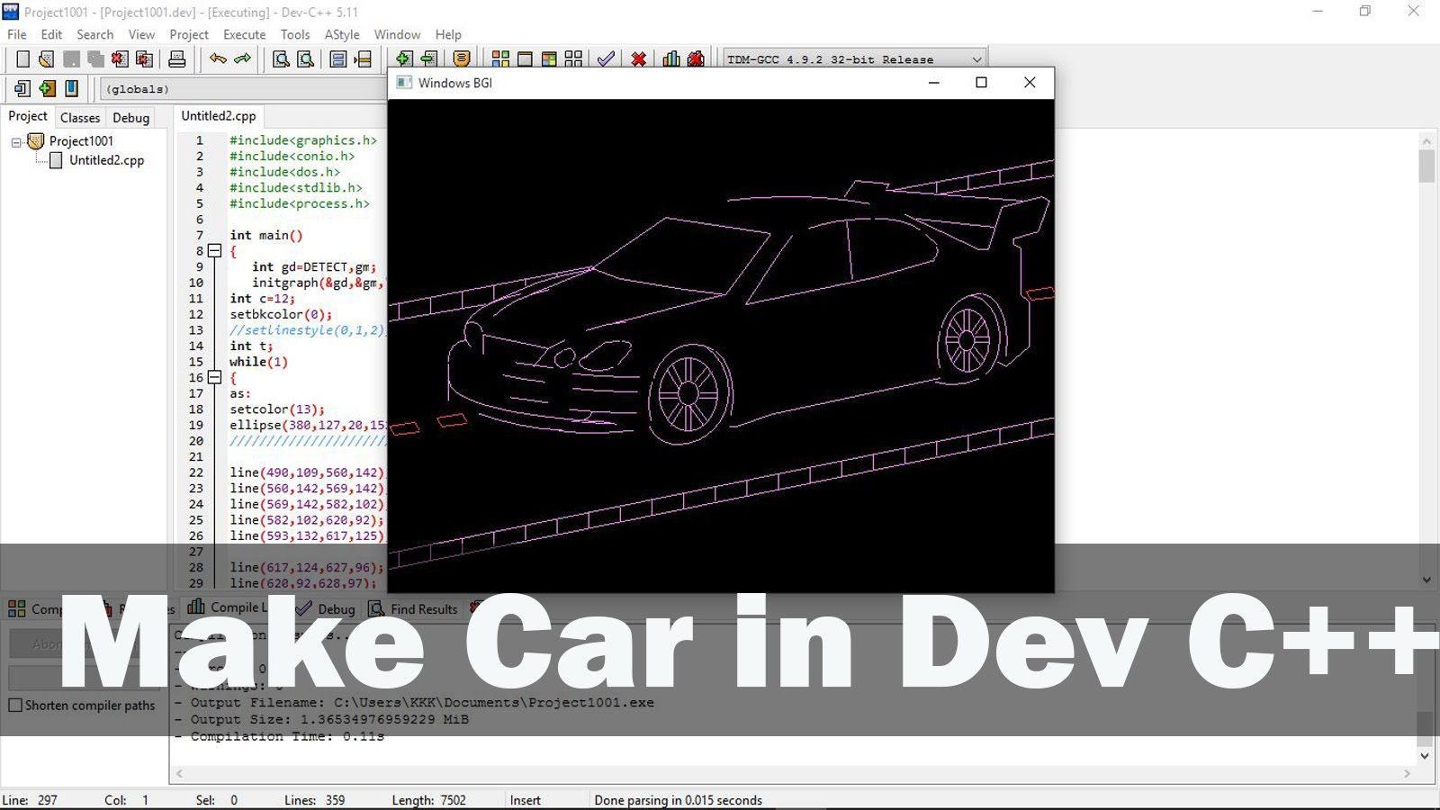 How to make car in dev c++ | Virtualoops | Car ins, Car