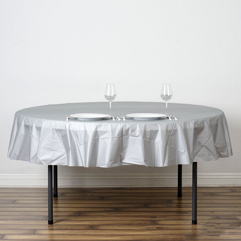 84 Silver 10 Mil Thick Crushed Design Waterproof Tablecloth Pvc Round Disposable Tablecloth In 2020 Waterproof Tablecloth Table Cloth White Table Cloth