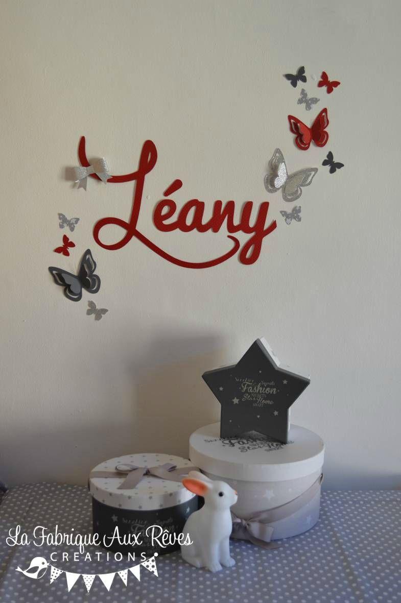 Chambre En Rouge Et Gris destiné stickers prénom fille papillons noeud rouge gris argent 2