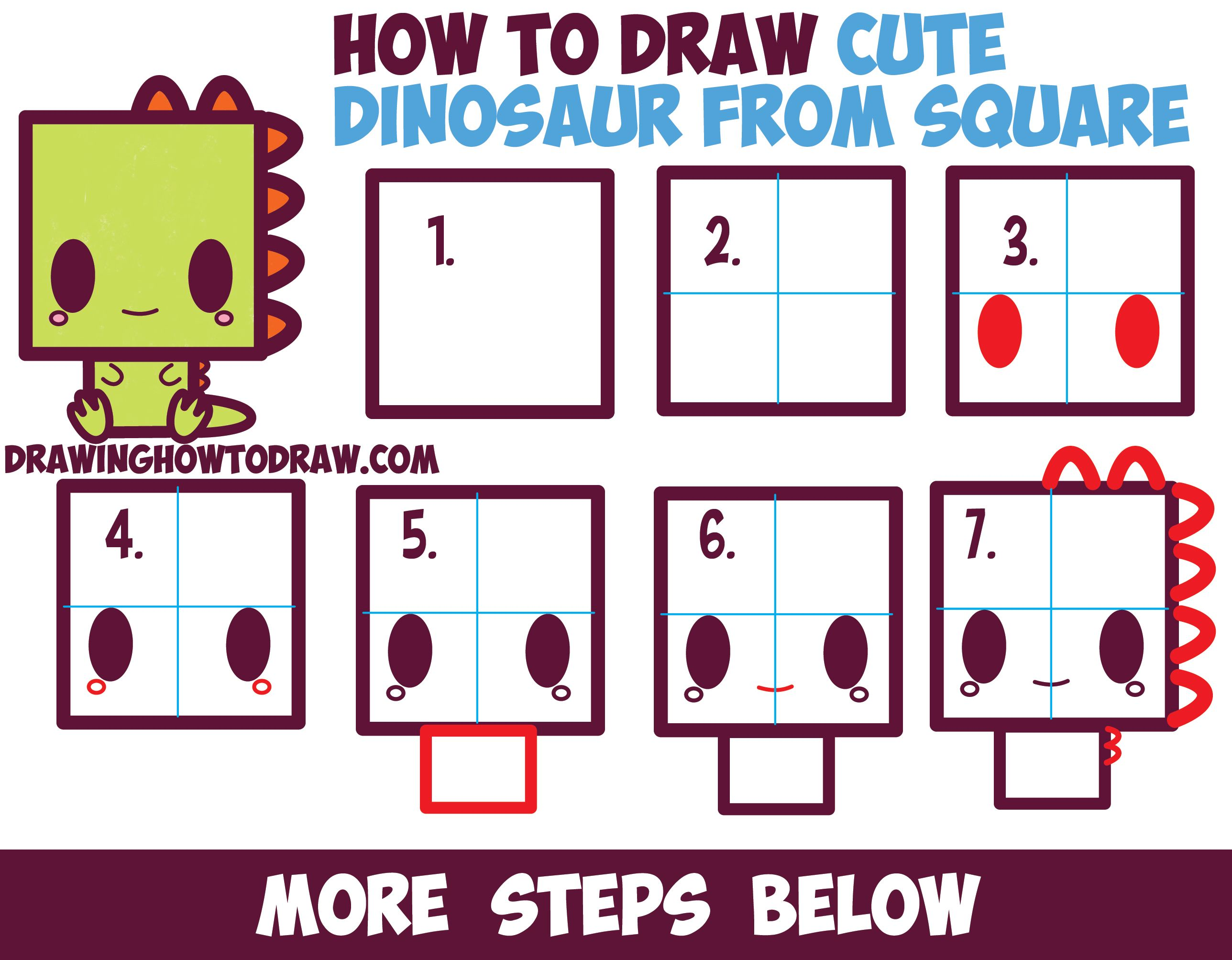 how to draw cute kawaii cartoon baby dinosaur from squares