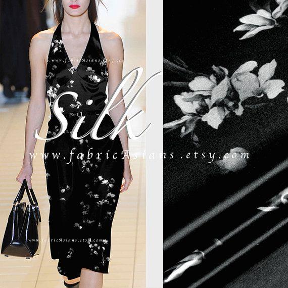 b4f632ce80aac Black SILK Little black dress Seide Stoff kaufen