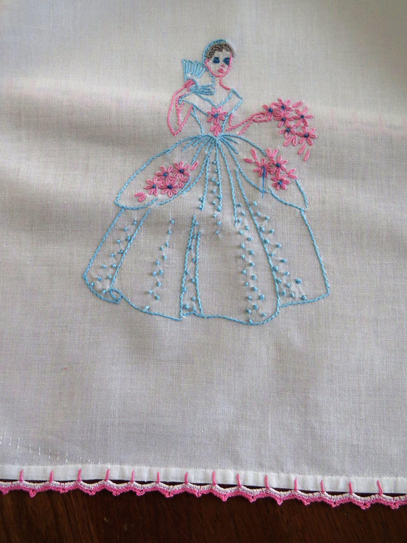 Vintage Southern Belle Dresser Scarf Hand Embroidered Aqua Pink Lady Table Runner Crochet