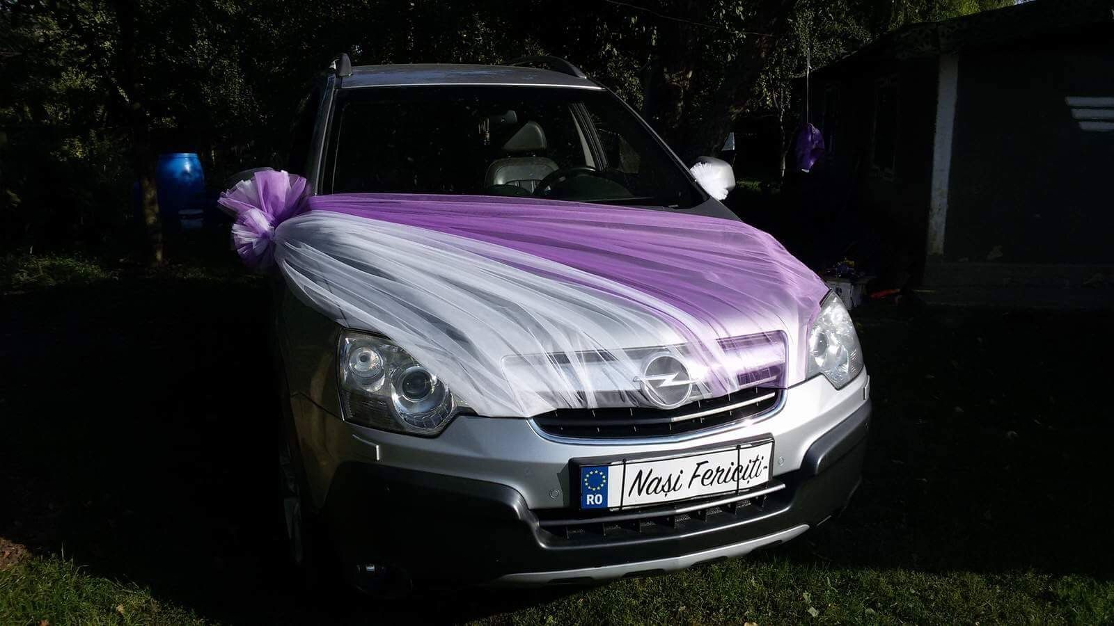 Wedding Car Decoration Ideas Car Wedding Tulle White Purple