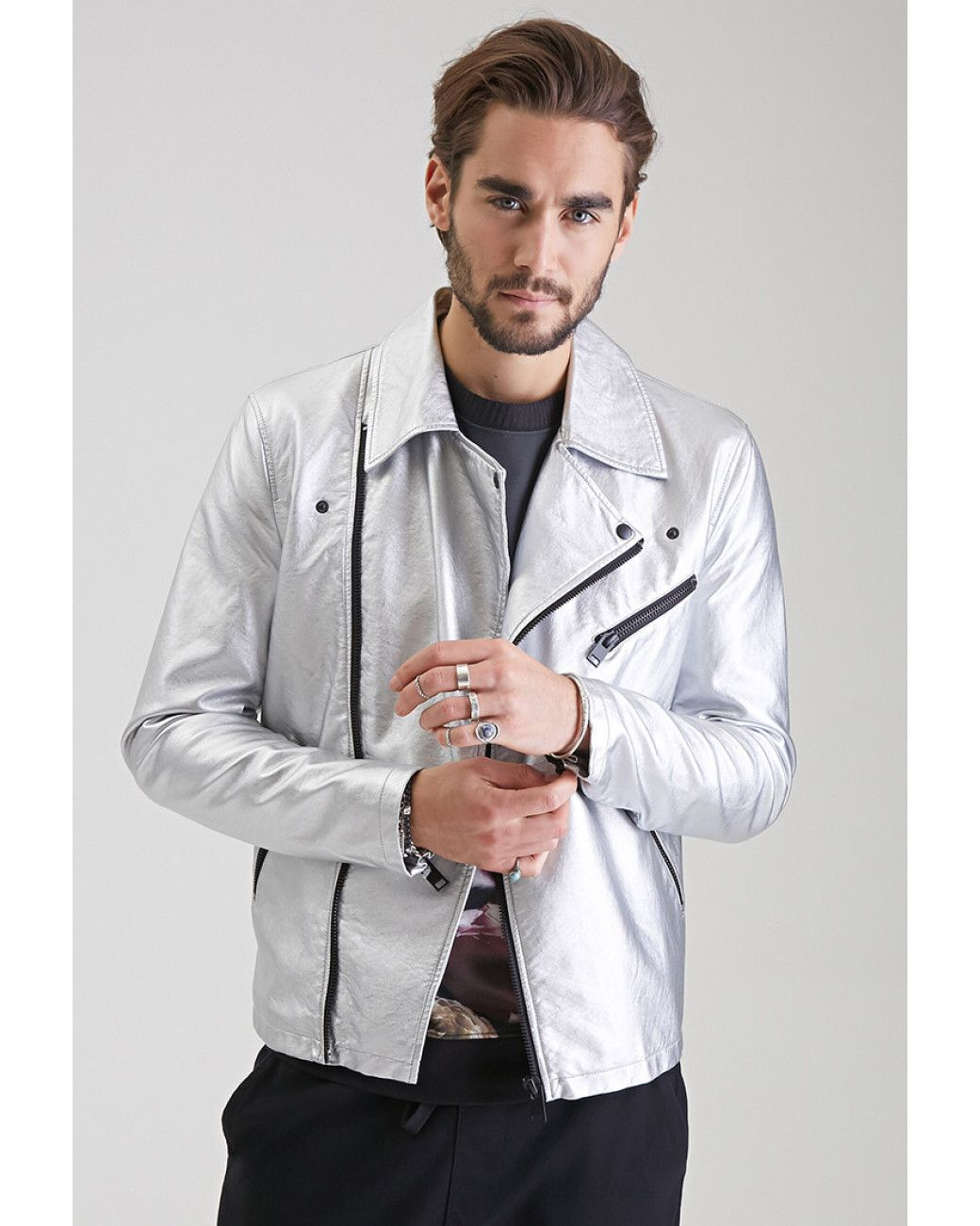 21men Silver Leather Jacket Mens Jackets Fall New Look Clothes Mens Outfits