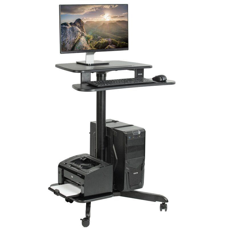 Mobile Pneumatic Stand Up Presentation Adjustable Laptop Cart In 2021 Sit To Stand Adjustable Height Desk Computer Workstation
