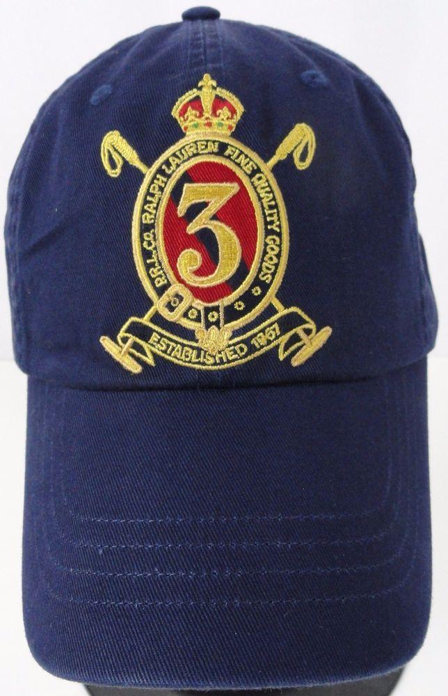 7320cf0d134 NWT Polo Ralph Lauren Mens Gold Crest Chino Hat Navy Blue Baseball Cap Sport  New  PoloRalphLauren  BallCap