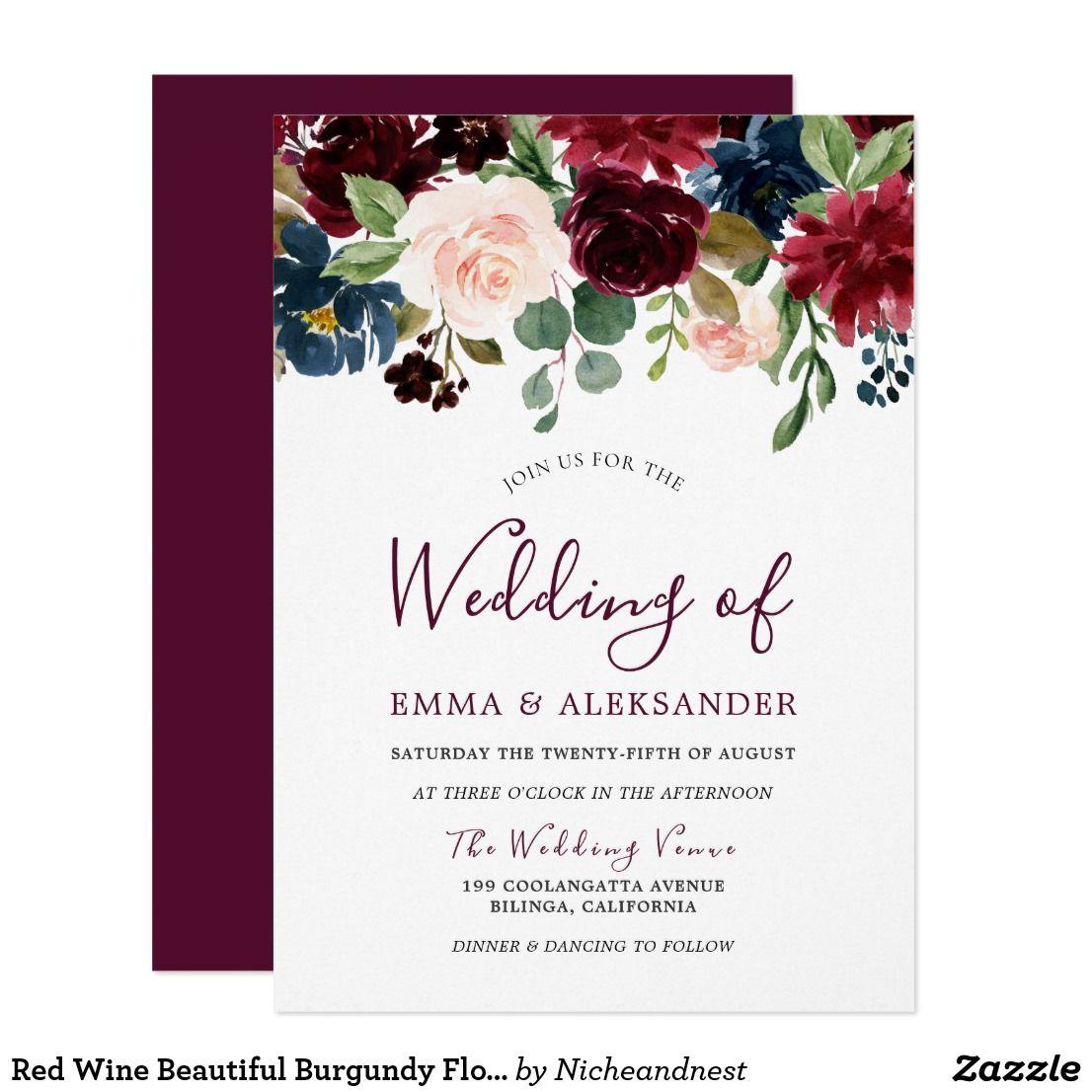 Red Wine Beautiful Burgundy Flowers Wedding Invite