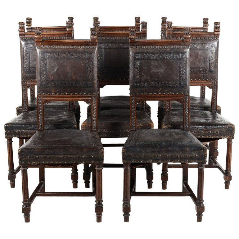 Image result for renaissance revival oak dining chair embossed leather seats - Image Result For Renaissance Revival Oak Dining Chair Embossed