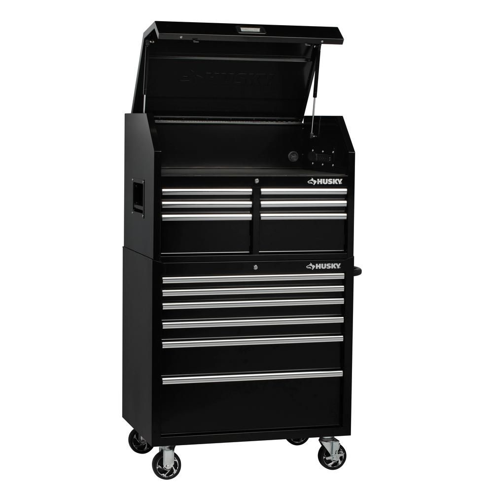 Husky 36 In W 12 Drawer Deep Combination Tool Chest And Cabinet Set In Gloss Black H36ch6tr6xd The Home Depot In 2020 Tool Chest Drawers Gloss Black