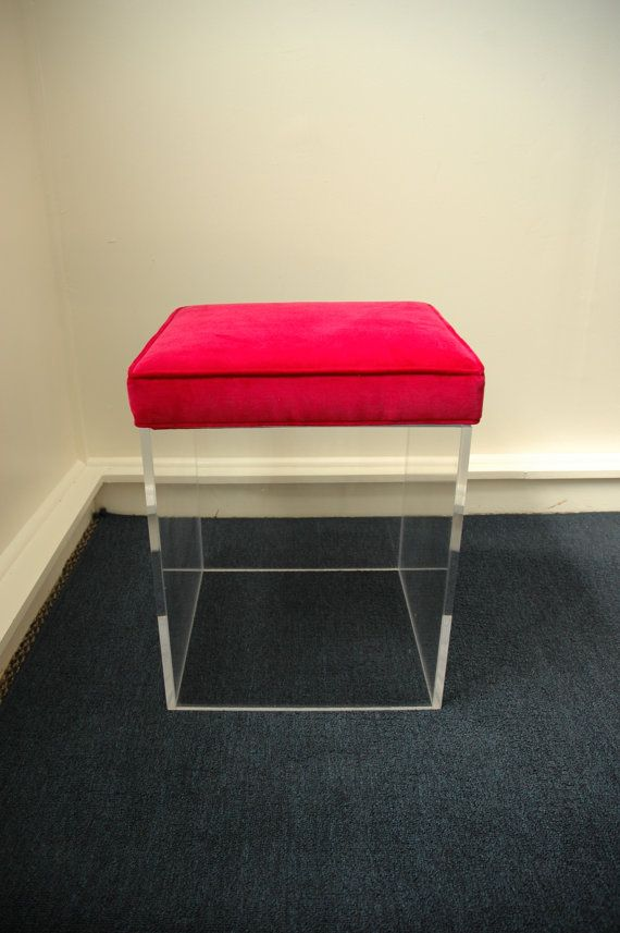 Clear Acrylic Cube Seat Or Stool With A Removable Padded Fabric Seat Cube Seat Fabric Seat Acrylic Furniture