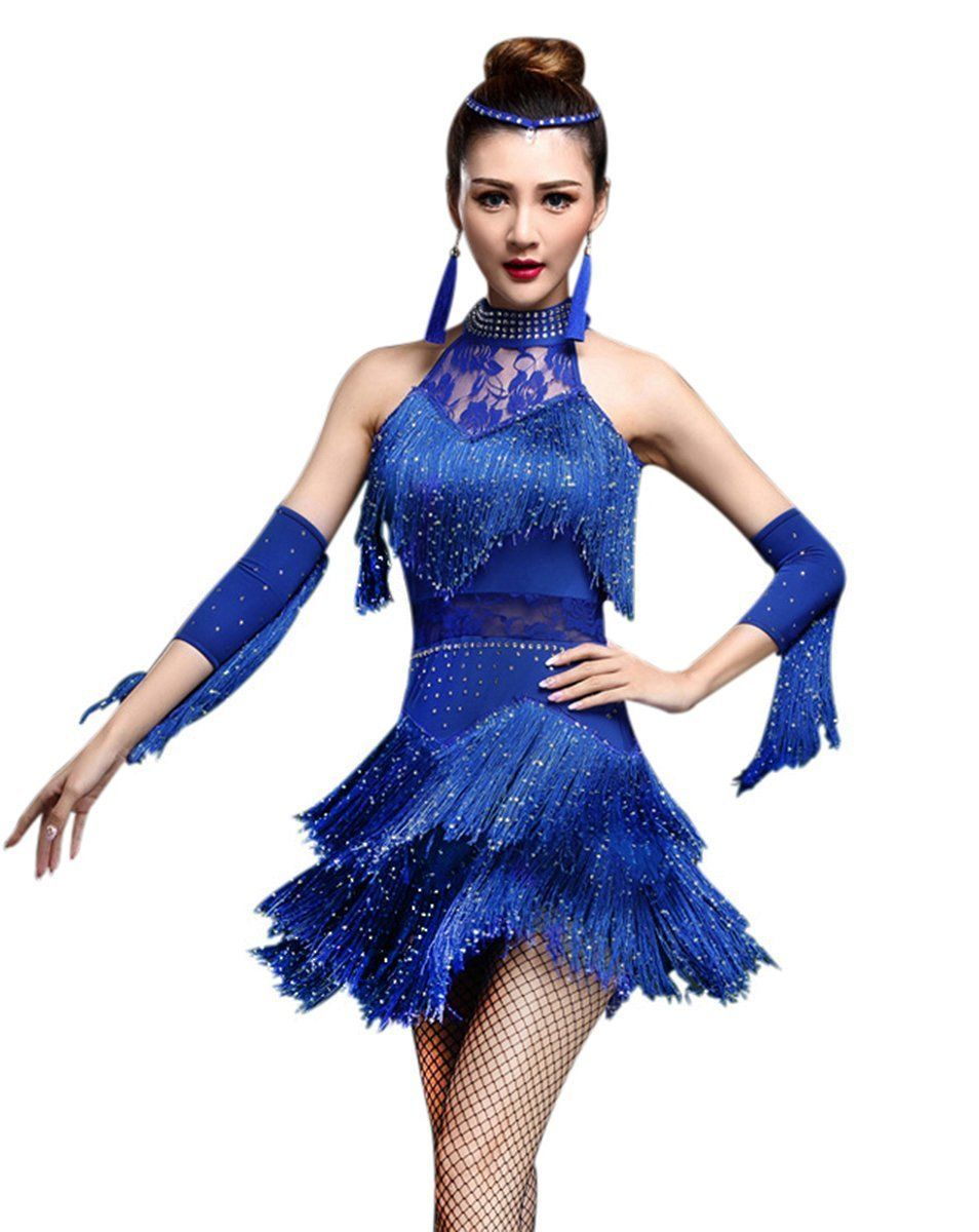 32bbf9dedb ZX Women's Rhinestone Tassel Flapper Latin Rumba Dance Dress 4 ...