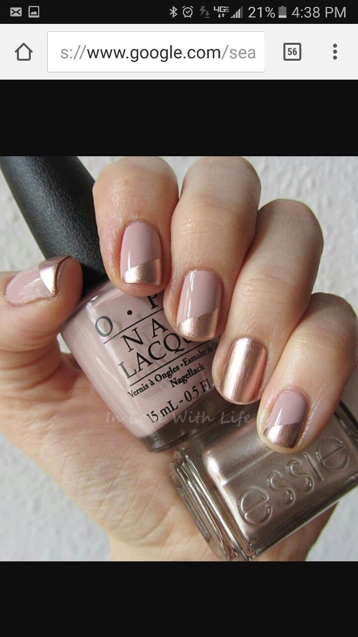Pin By Stacey S On Nails Beige Nails Metallic Nail Polish