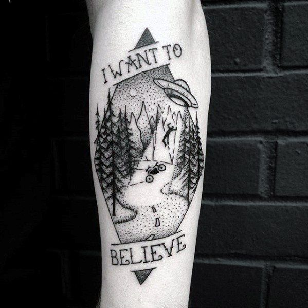 Mens I Want To Believe Tattoo Alien Leg Calf Design Inspiration