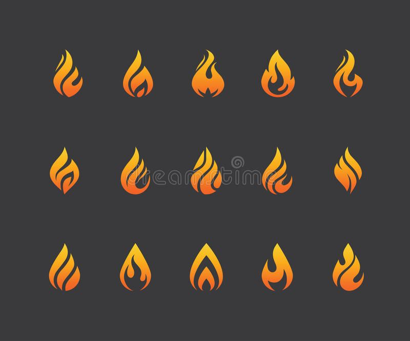 Set Of Fire Flame Icons And Logo Isolated On Black Background Set Of Flame Icon Affiliate Black Isolated H Fire Icons Black Backgrounds Abstract Logo