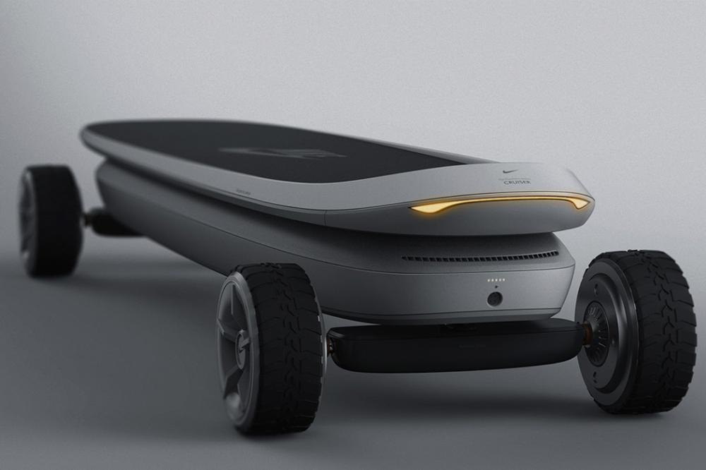 Nike-inspired electric skateboard designed to charge while being carried in it's backpack! | Yanko Design