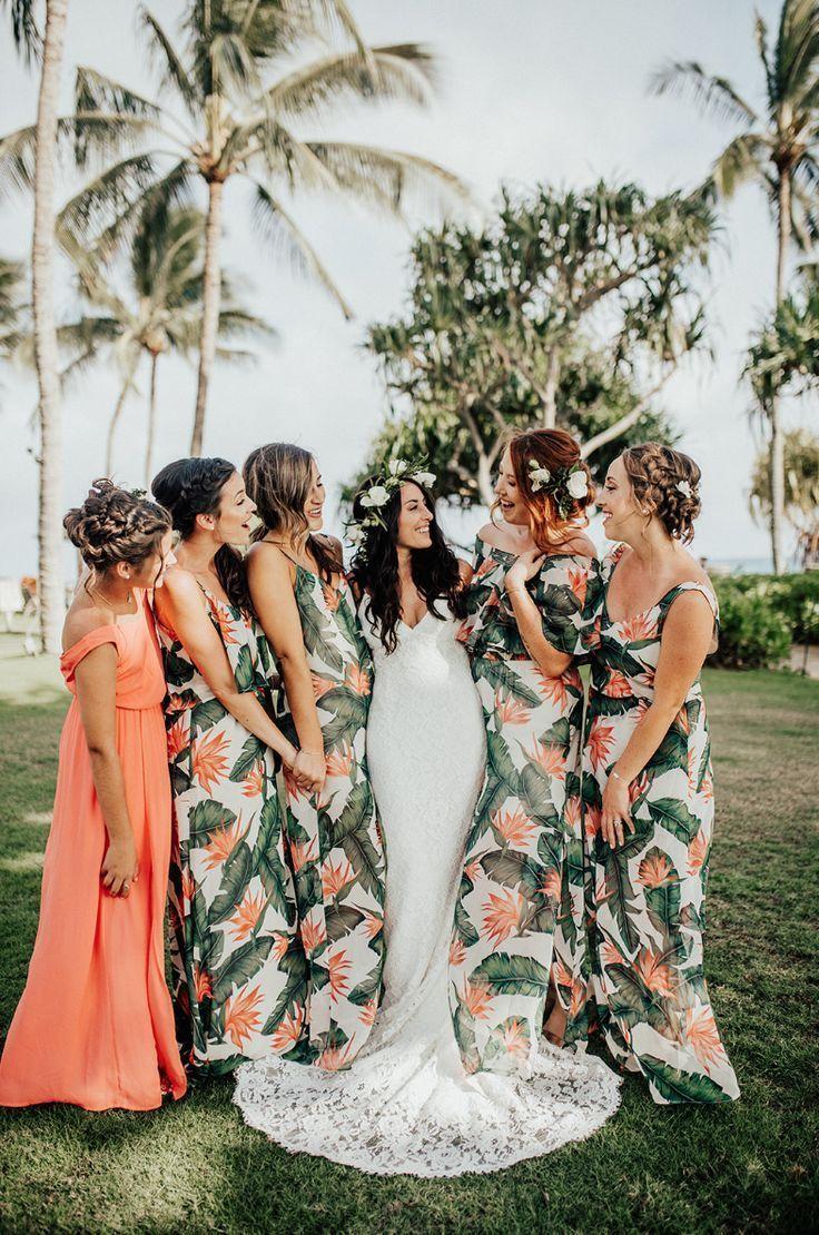 Having a destination wedding? Be bold & adventurous with your wedding colors! | Wedding Coordinated by The Beach House, Kauai #bridesmaiddress #destinationwedding #hawaiiwedding #thebeachhousekauai #tropicalvibes