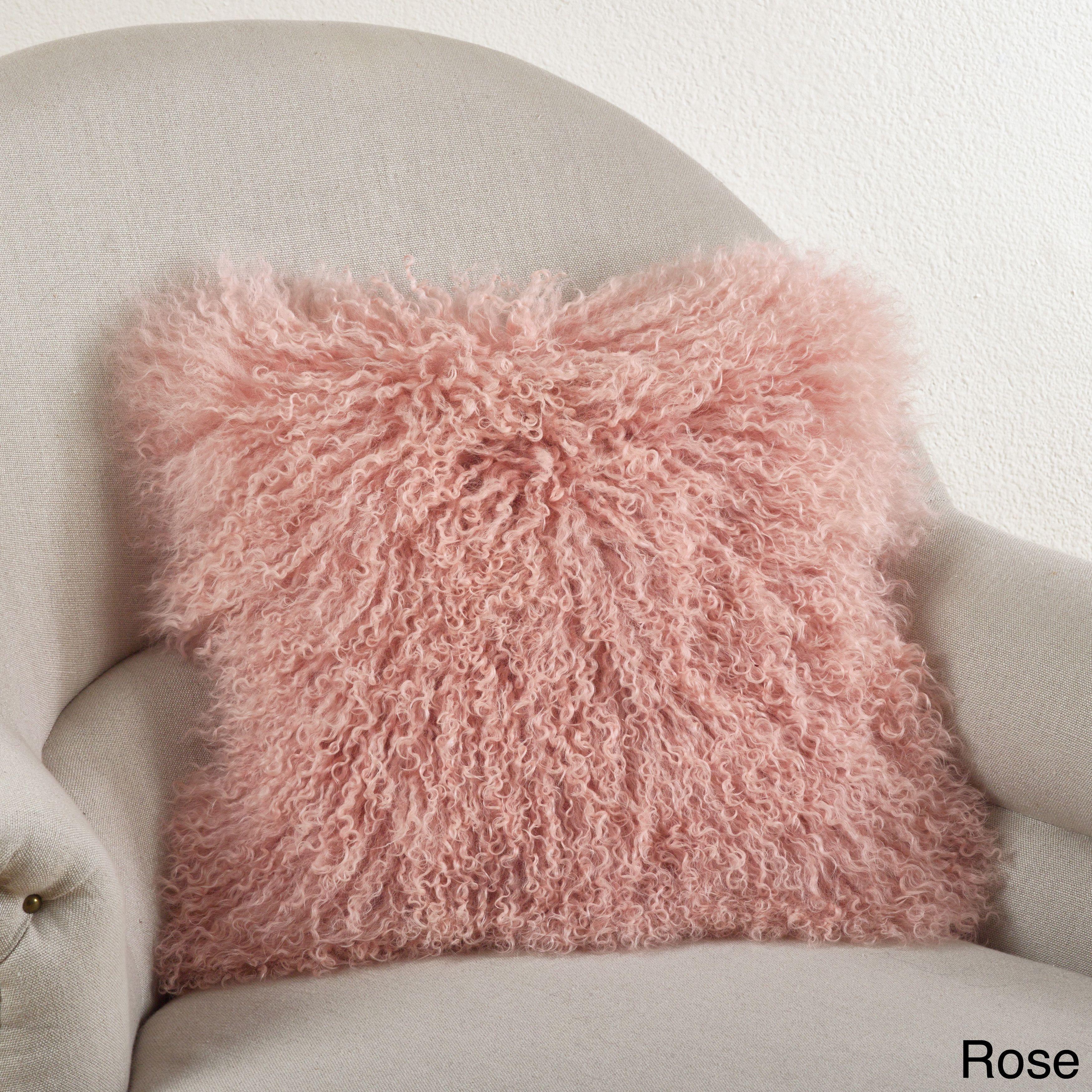 Saro Mongolian Lamb Fur Throw Pillow (Rose-20x20), Red, Size 20 x ...