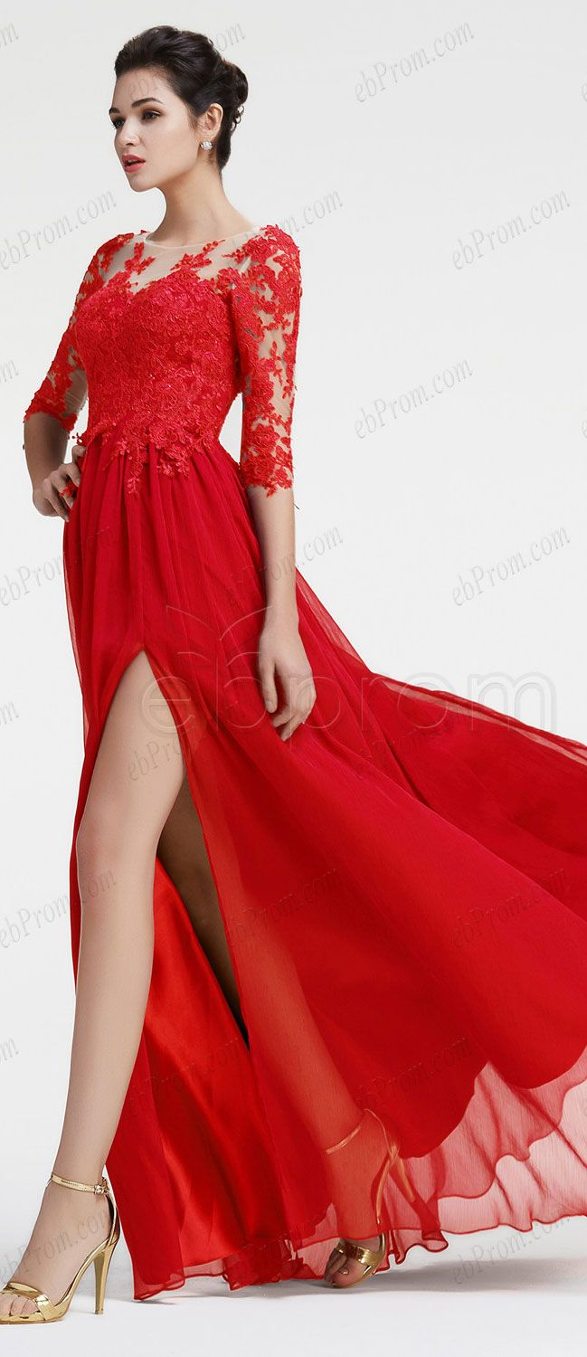 Lace Red Long Sleeve Prom Dress With Slit Modest Prom Dresses