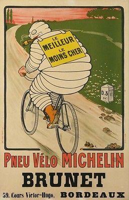 A1 A2 A3 A4 A5 Michelin Tire advertisement Bike Vintage Art Print Poster