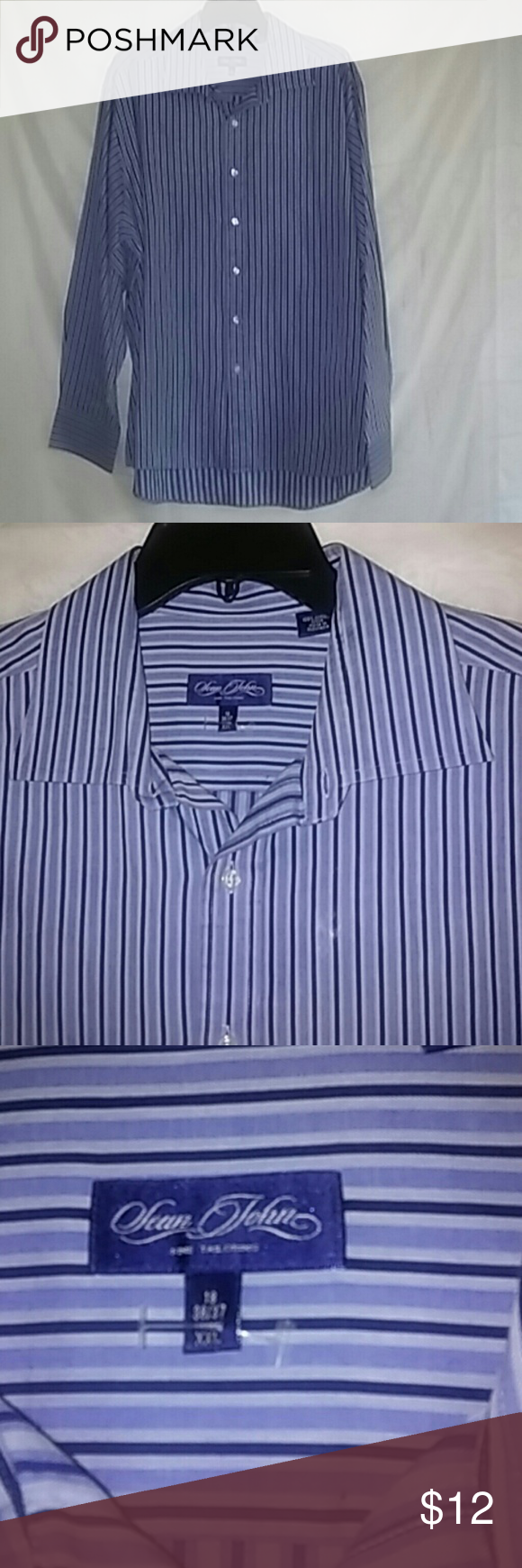 Sean John shirt men Gently worn in excellent condition men size 18  36/37 long sleeve Sean John Shirts Casual Button Down Shirts