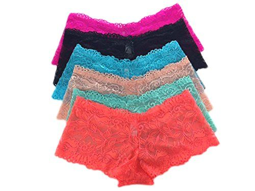 a3b566a5391 Yinsaviny Women s Floral Lace Boyshorts Stretched Panties (Pack of 6)   gt  gt