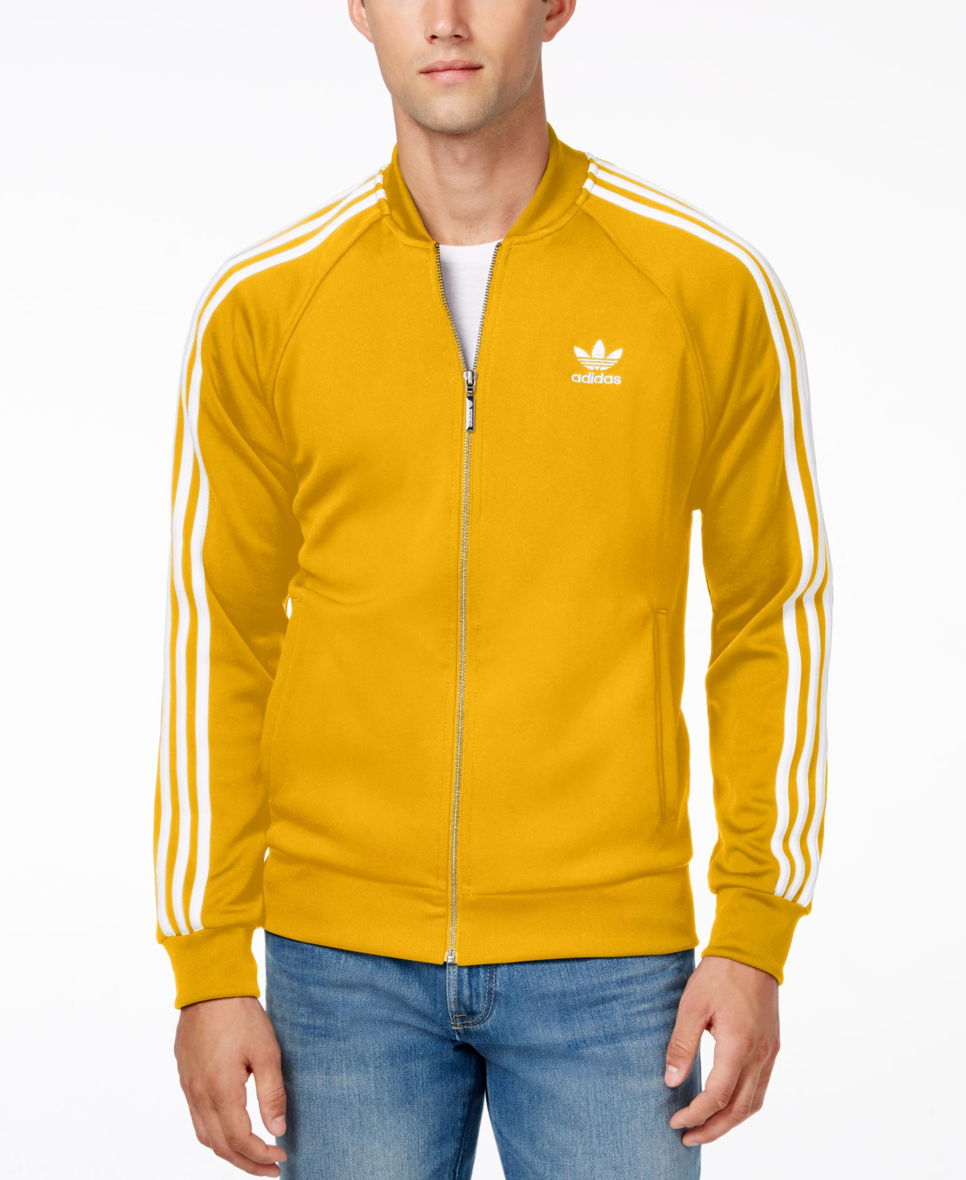 44e3f1feab5 adidas Originals Men's Superstar Zippered Track Jacket Yellow Adidas,  Adidas Jacket, Yellow Coat,