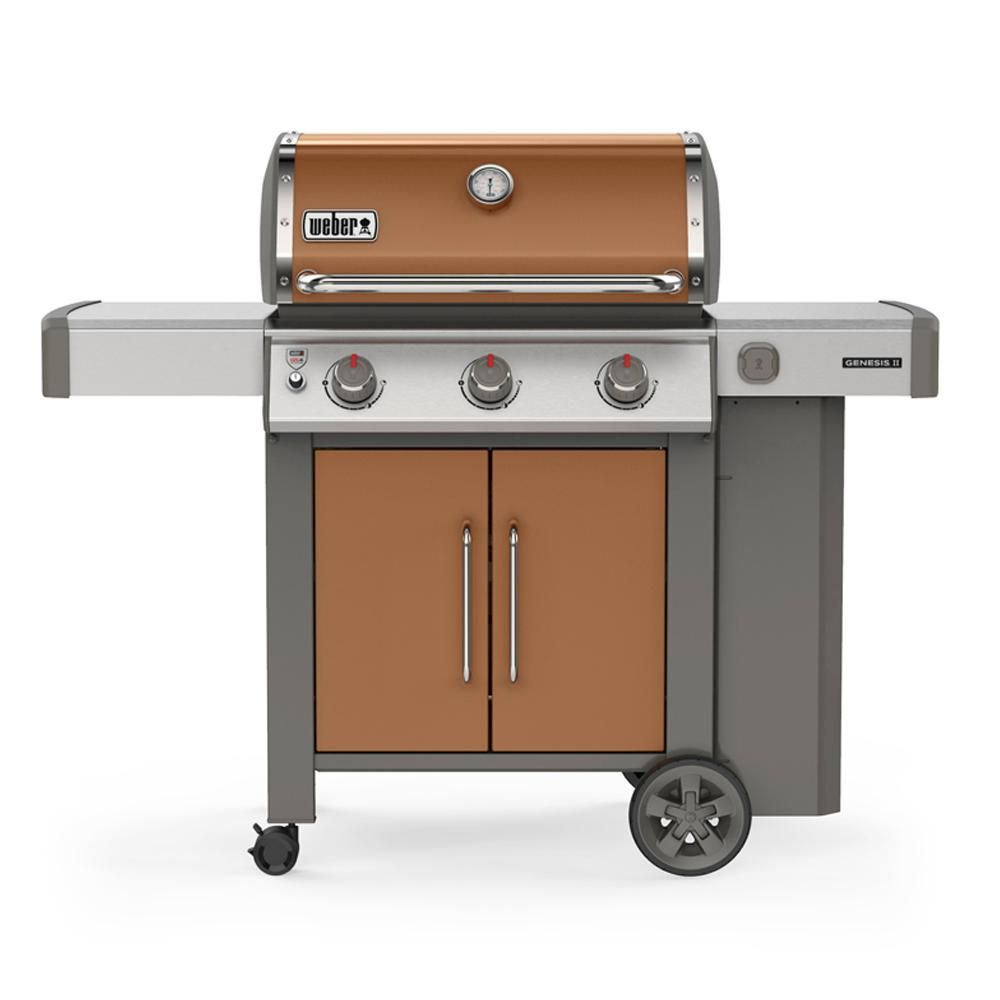 Weber Genesis Ii E 315 3 Burner Propane Gas Grill In Copper With Built In Thermometer Brown In 2020 Gas Grill Propane Gas Grill Weber Gas Grills