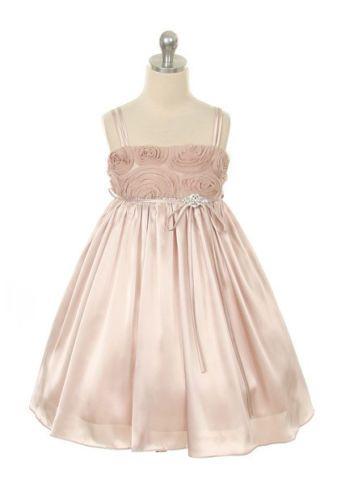 Satin Rose Swarovski Broach Flower Girl Dress Party Pageant Wedding Sundress | eBay