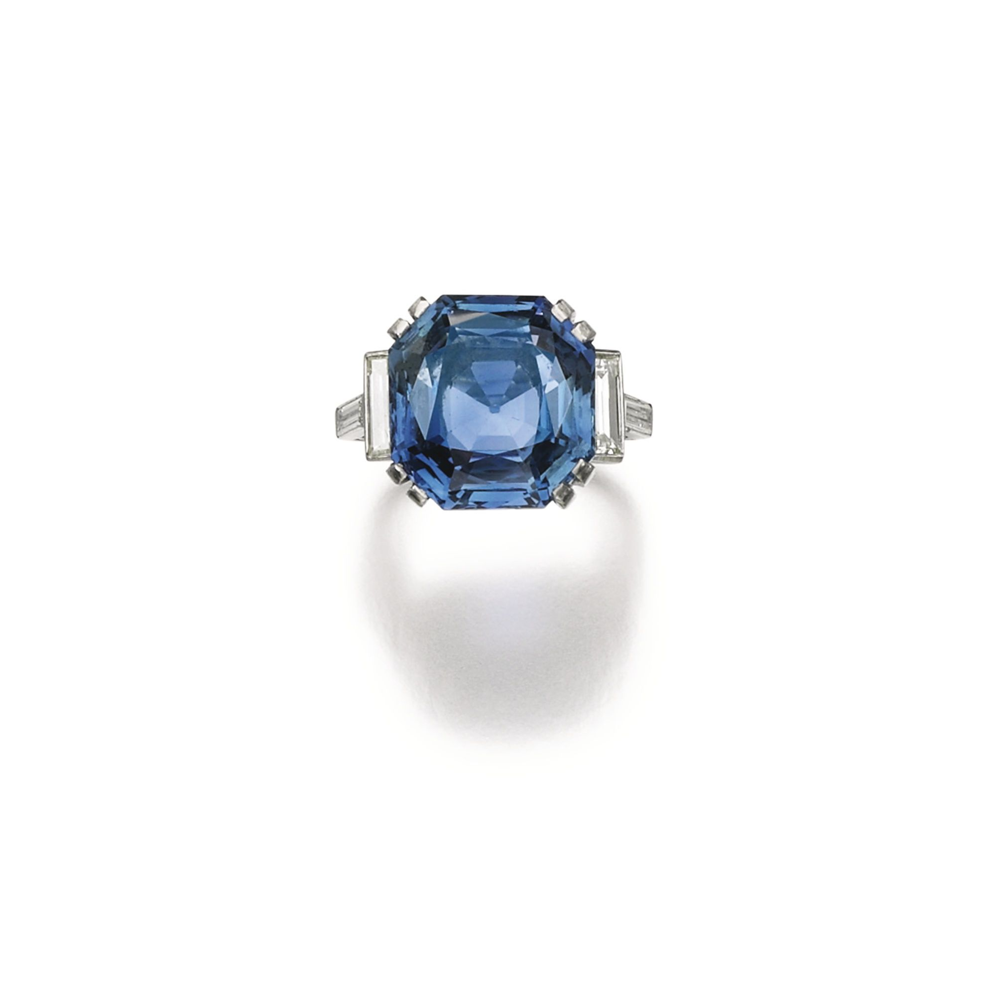 and ring lyst fullscreen wales atrium polly baguette sapphire gold in view jewelry halo diamond