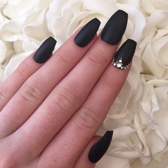 Matte Black Coffin Nails With Rhinestones And Gold Beads Nails Design With Rhinestones Black Nail Designs Diamond Nails