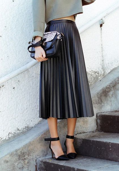Female New Faux Leather Casual Pleated Long Skirt Flared Skater ...