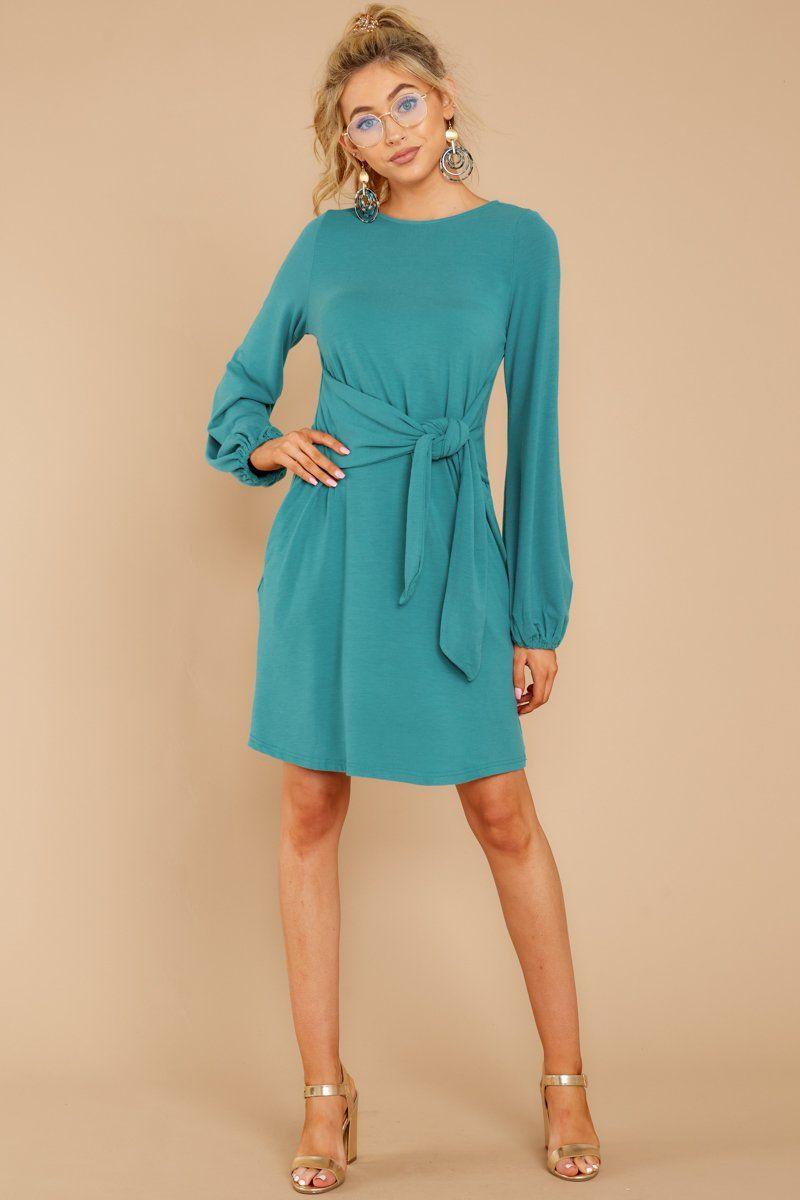 Lovely Blue Long Sleeve Dress - Flowy Tie Front Dress - Dress