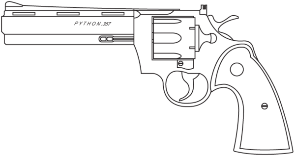 how to draw a python gun step by step