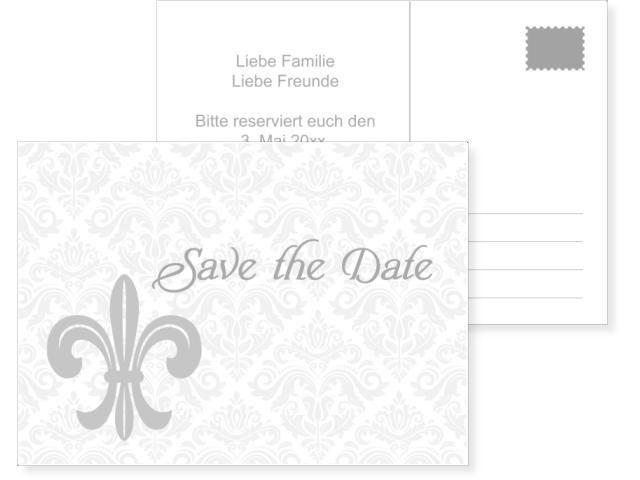 Fleur De Lis 2 Seitig 70x210mm Grau Hochzeitskarten Online