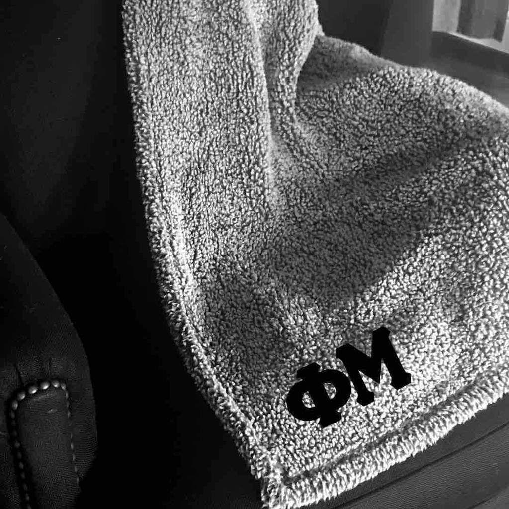 Phi Mu Blanket I Sherpa I Grey & Black | Sorority blankets ...