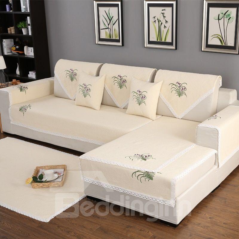 Country Style Anti Slip All Seasons Embroidery Soft Living Room Sofa Covers Beddinginn Com Living Room Sofa Sofa Covers Room Sofa