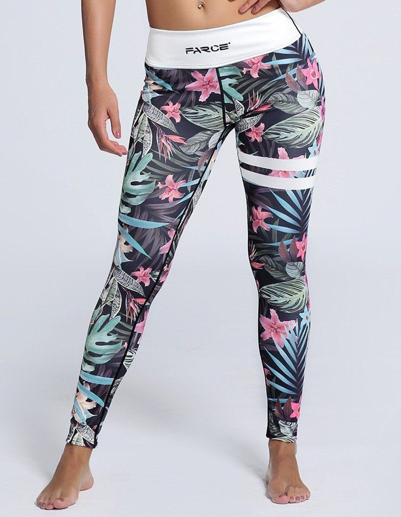 885319506b1be5 Tropical Floral Print Tights Womens Yoga Workout Breathing Leggings ...
