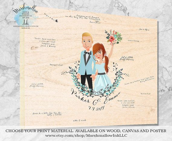 Wedding Portrait Guest Book Alternative Signs Sign Gift Ideas Wood Guestbook For Bride