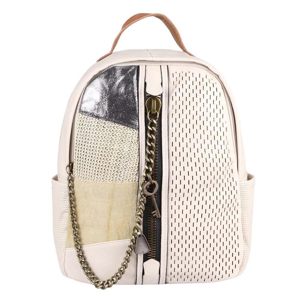 d8855f767b5d4  Werbung  DAMEN Stadt-City-RUCKSACK Schulter-TASCHE Metallic Leder Optik  Daypack