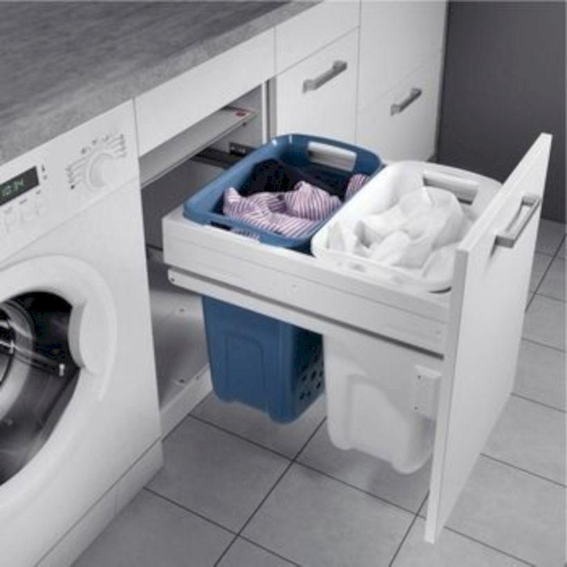 55 Beautiful And Functional Small Laundry Room Design Ideas Godiygo Com Beautiful Design In 2020 Waschkuchendesign Waschekorb Schrank Badezimmer Aufbewahrung