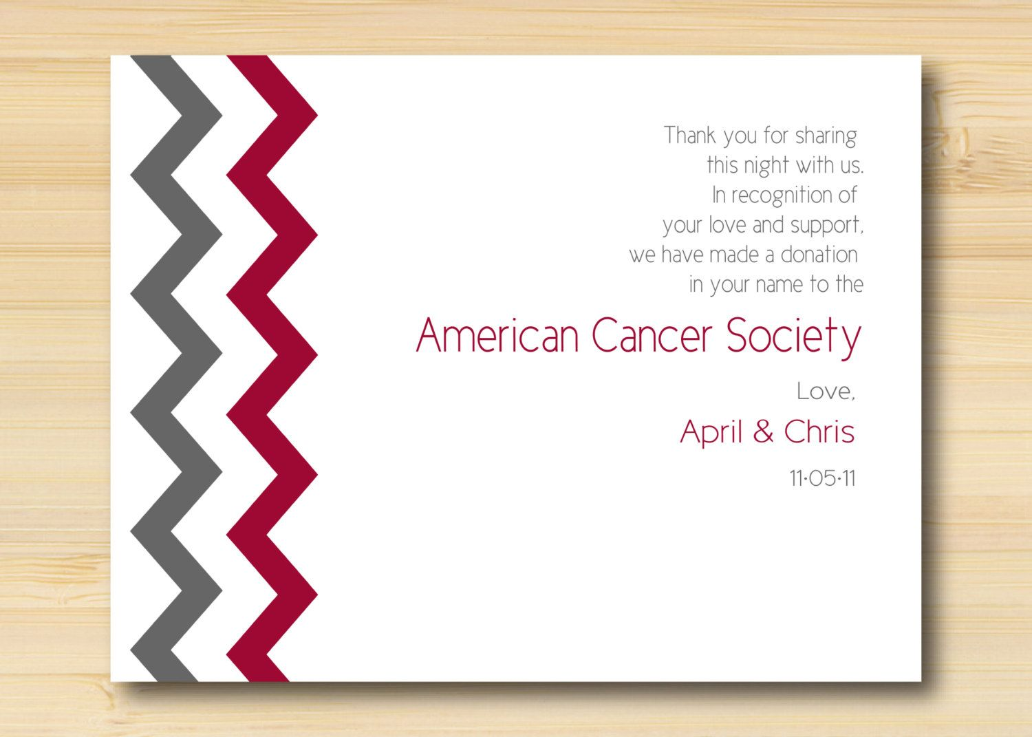 Charity Donation Favor Card For Your Wedding Or Event Chevron Design