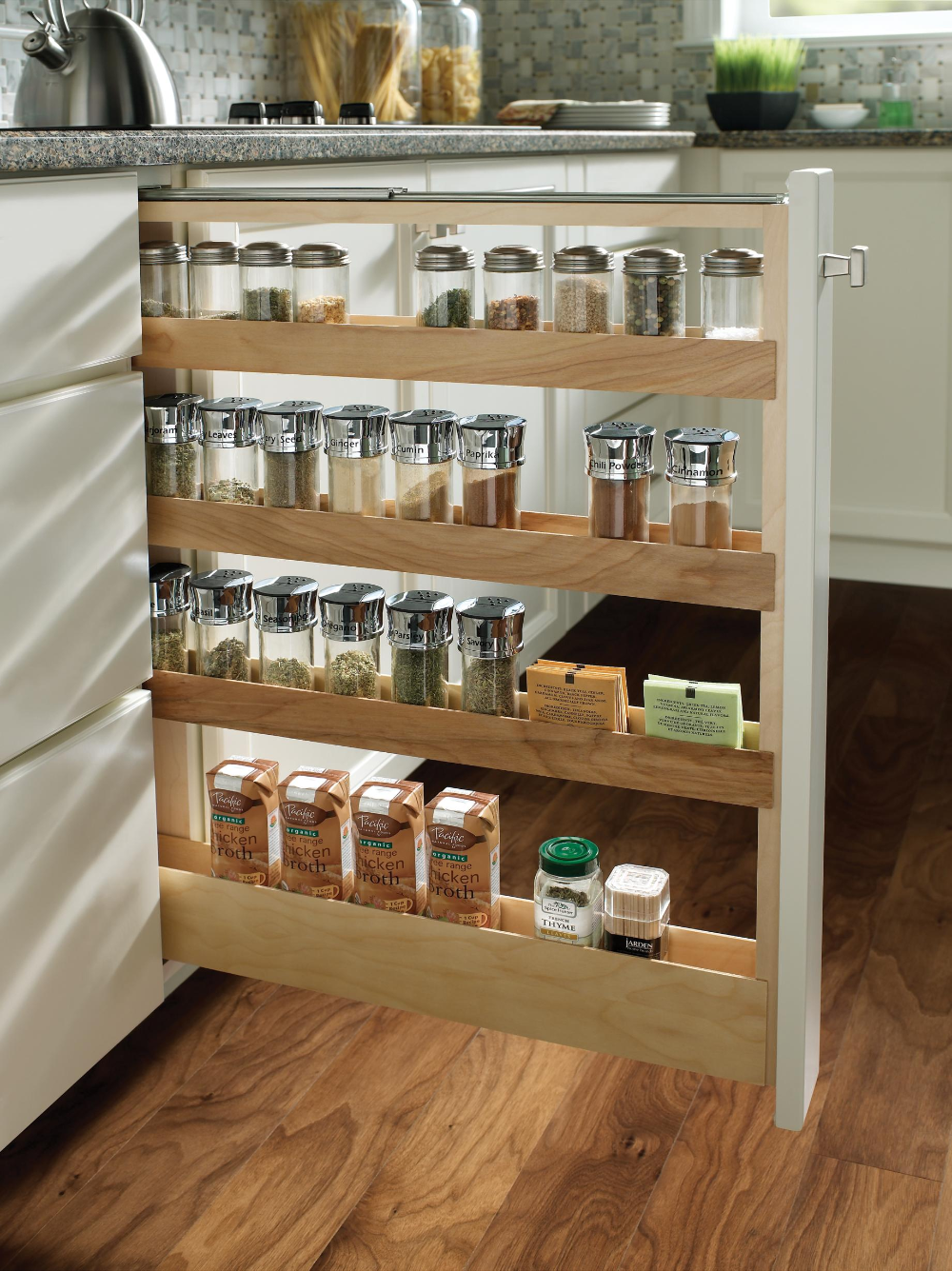 Yorktowne Cabinetry Pull Out Spice Rack In 2020 Kitchen Storage Rack Pull Out Spice Rack Clever Kitchen Storage