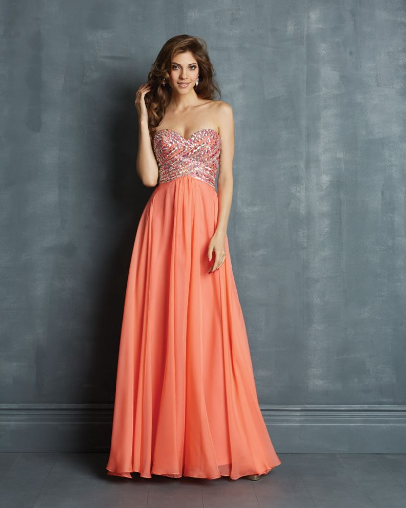 Coral and Gold Prom Dress