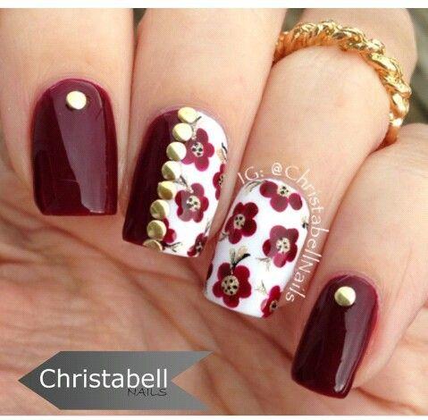 Color block flowers nails
